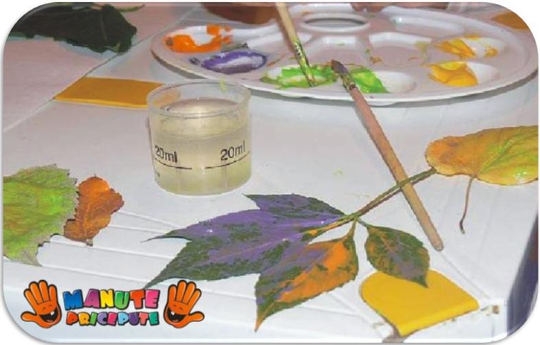 activitati copii - pictura pe frunze